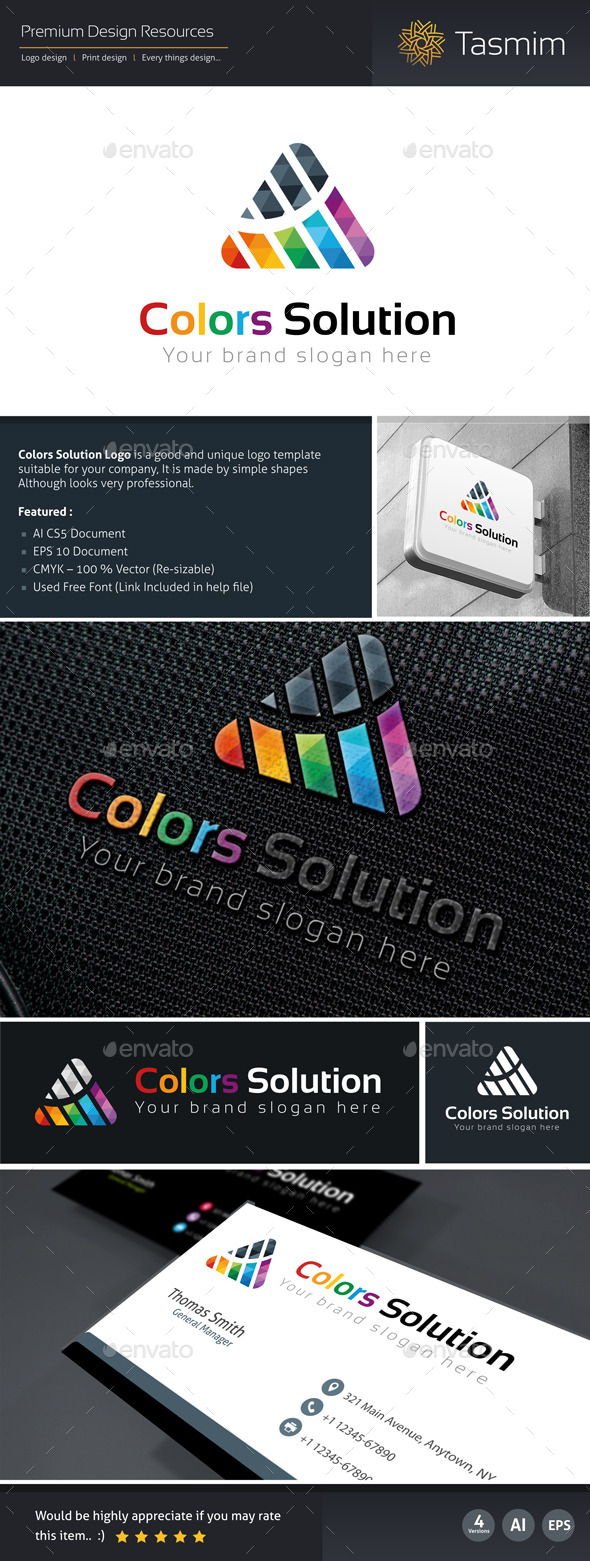 Colors Solution Logo Template - Logo Templates