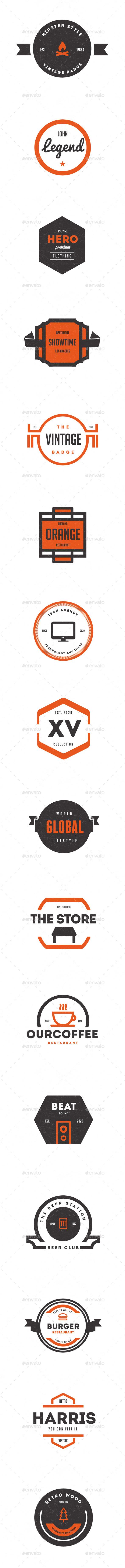Trendy Vintage Logos, Labels & Badges - Badges & Stickers Web Elements