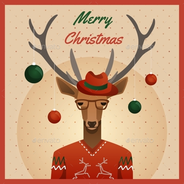 Hipster Deer with Hat and Christmas Balls - Christmas Seasons/Holidays