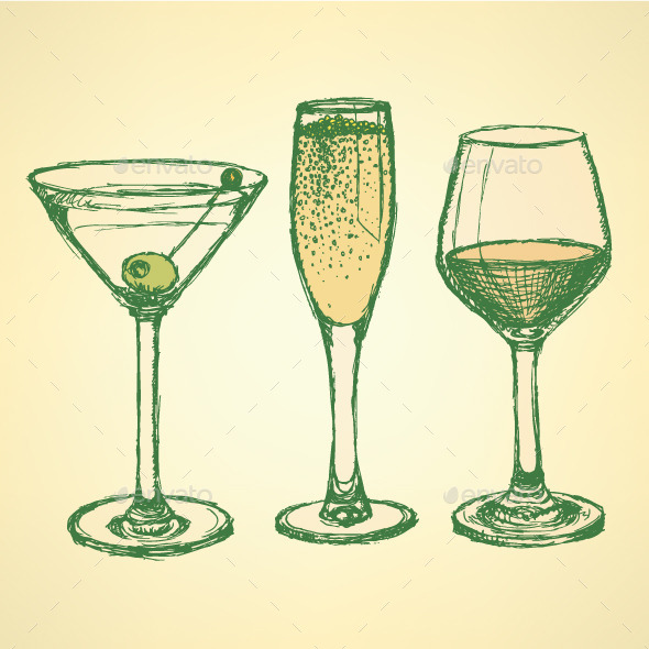 Sketch Martini, Champagne and Wine Glass - Food Objects