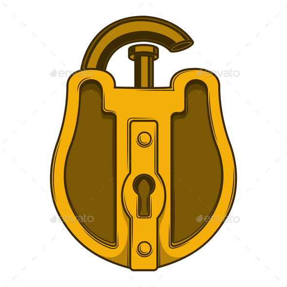 Antique Golden Lock - Man-made Objects Objects