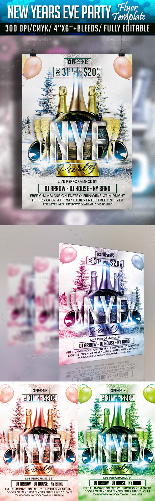 New Year's Eve Party Flyer Template - Clubs & Parties Events
