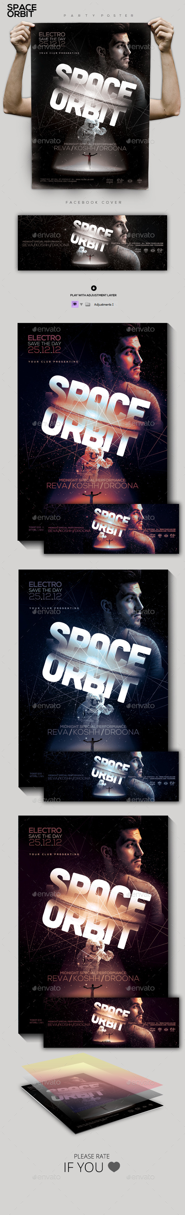 Futuristic Electro Party Flyer/Poster - Clubs & Parties Events