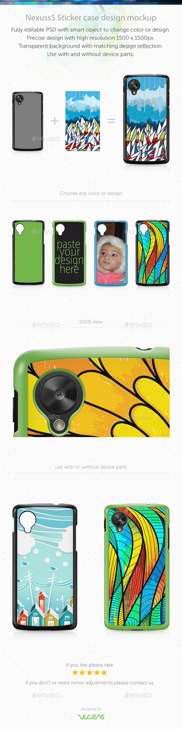 Nexuss 5 Sticker Case Design Mockup - Mobile Displays
