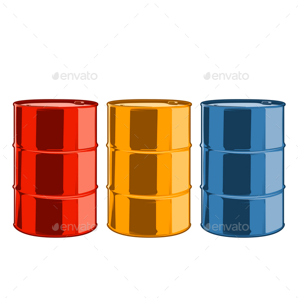 Steel Oil Barrels - Man-made Objects Objects