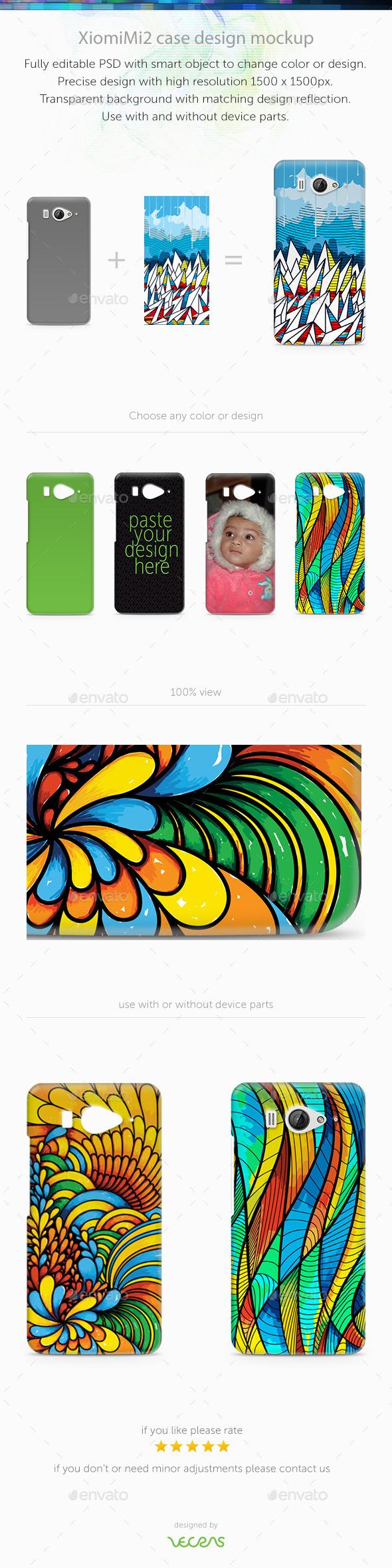 XiomiMi2 Case Design Mockup - Mobile Displays