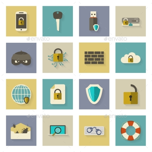 Cyber Defense Flat Icons Set with Shadows - Web Technology