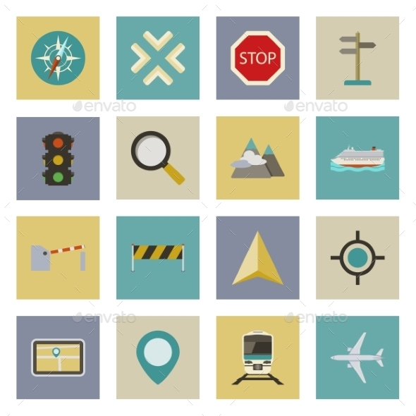 GPS and Navigation Flat Icons Set - Travel Conceptual