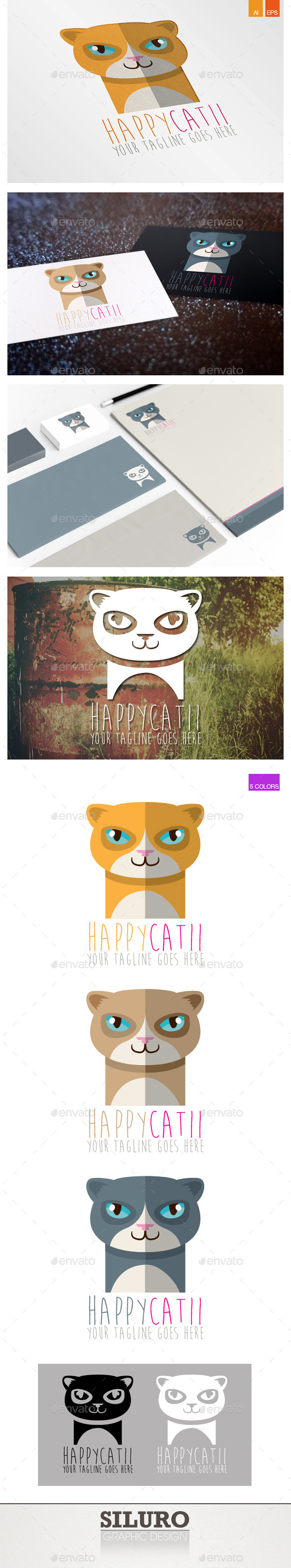 Happy Cat II Logo - Animals Logo Templates