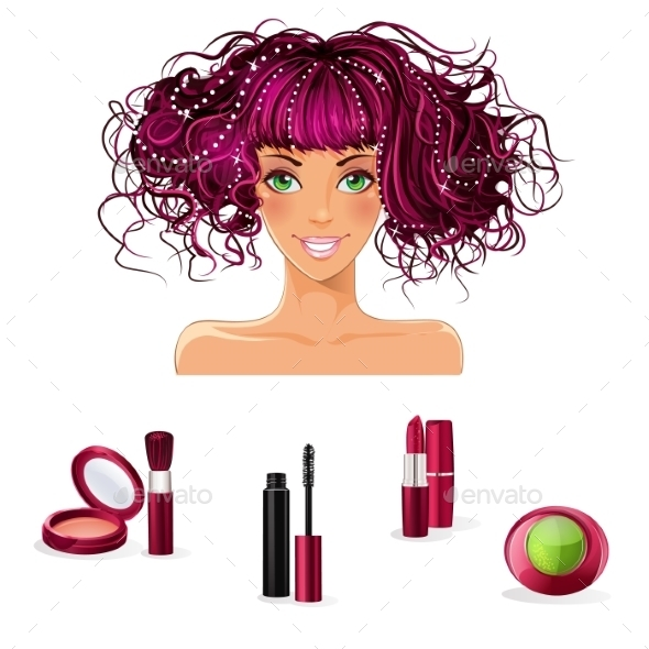 Set of Makeup for Girls with Green Eyes - Objects Vectors