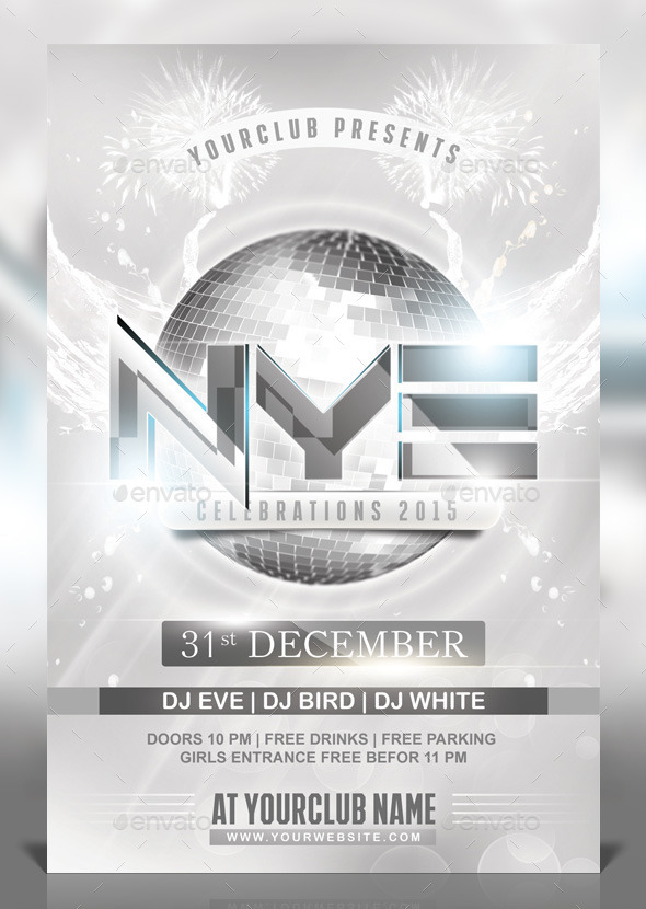 NYE White Party Flyer - Clubs & Parties Events