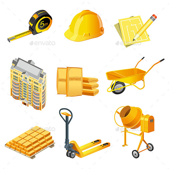 Building Icons Set.  - Buildings Objects