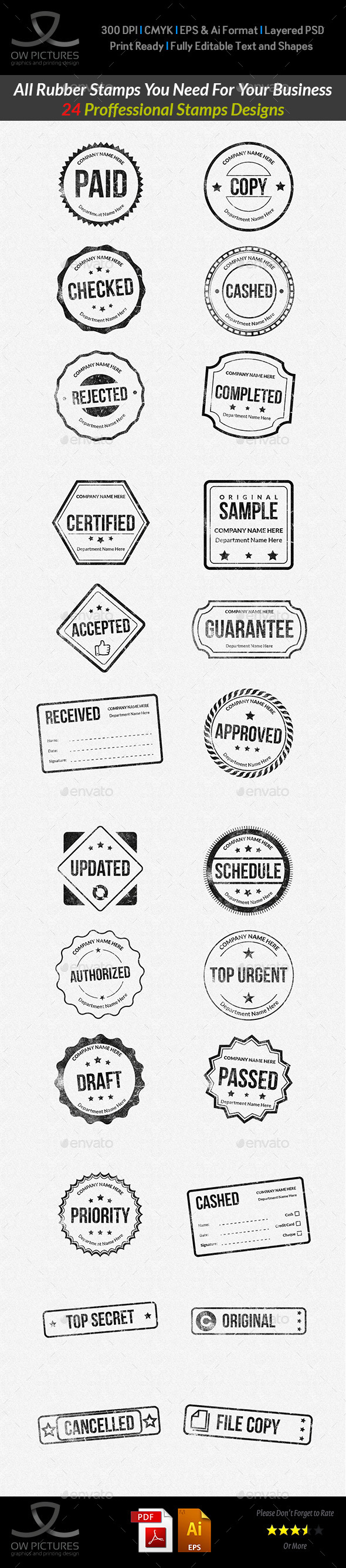 Rubber Stamps Designs Collection - Business Conceptual