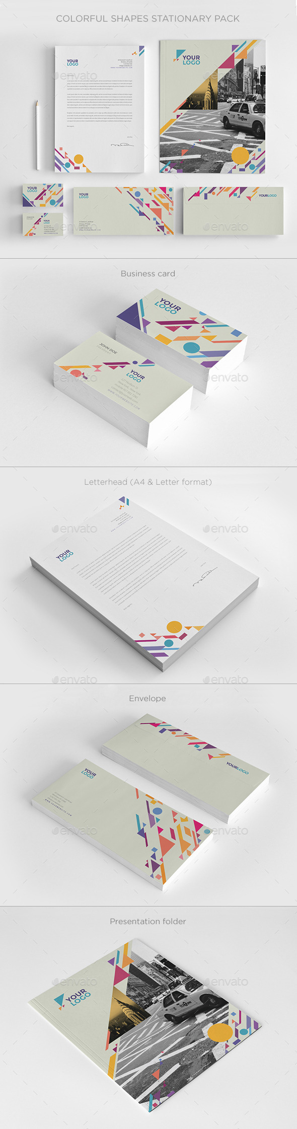 Colorful Shapes Stationery - Stationery Print Templates