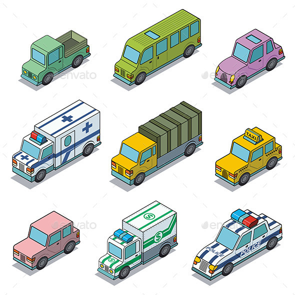 Vector Car Icons - Technology Conceptual