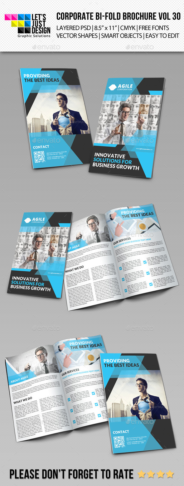 Creative Corporate Bi-Fold Brochure Vol 30 - Corporate Brochures