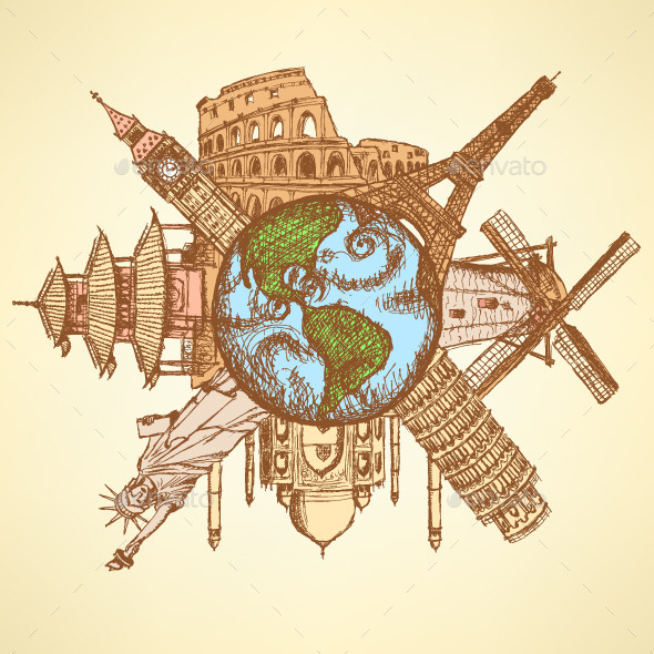 Sketch famous buildings around planet Earth - Backgrounds Decorative