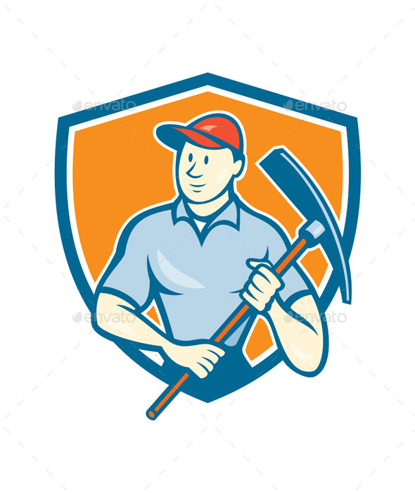 Construction Worker Holding Pickaxe Shield Cartoon - People Characters