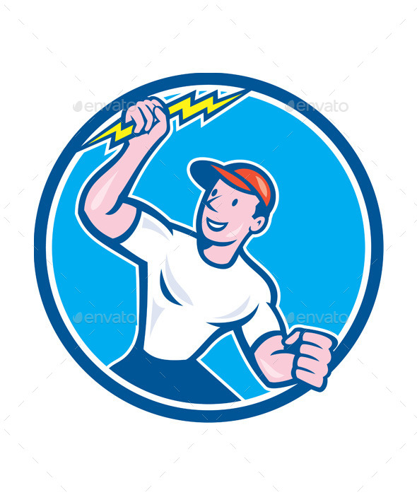 Electrician Holding Lightning Bolt Circle Cartoon - People Characters