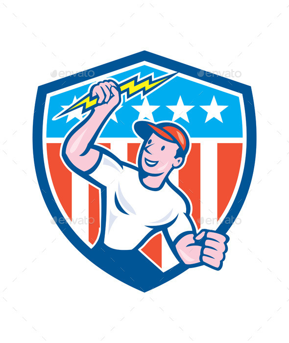 Electrician Lightning Bolt USA Flag Cartoon - People Characters