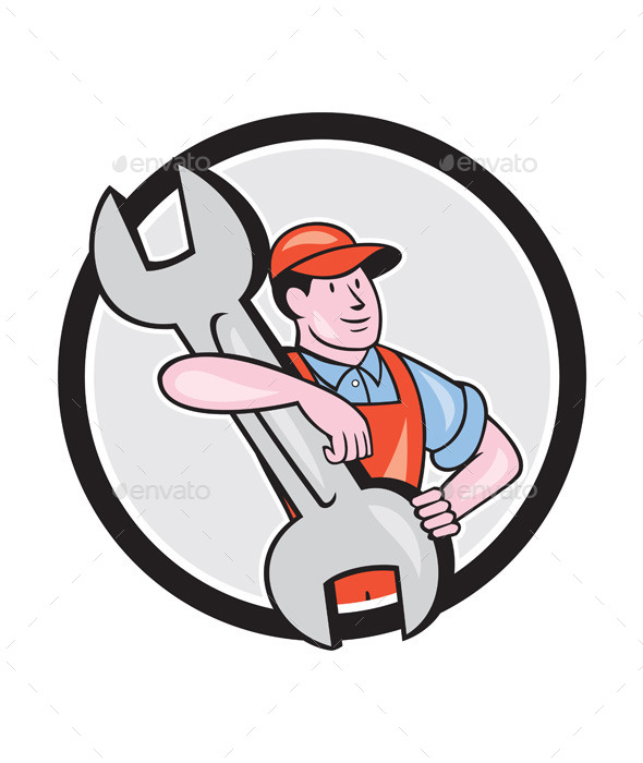 Mechanic Carry Spanner Wrench Circle Cartoon - People Characters