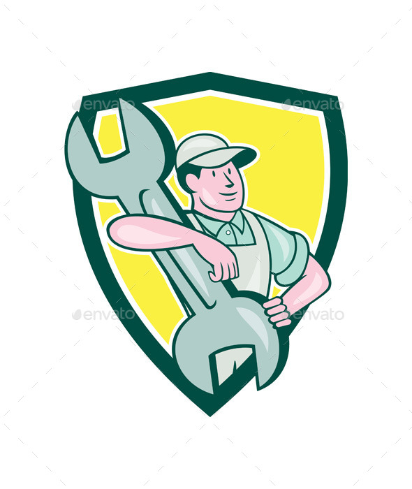 Mechanic Carry Spanner Wrench Shield Cartoon - People Characters