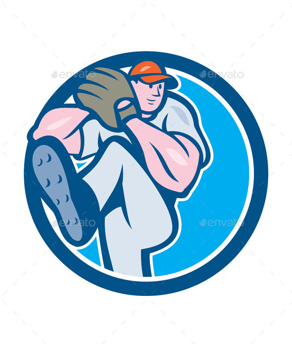Baseball Pitcher Outfielder Leg Up Circle Cartoon - Sports/Activity Conceptual