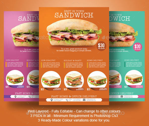 Sandwich Flyer Template by BloganKids | GraphicRiver