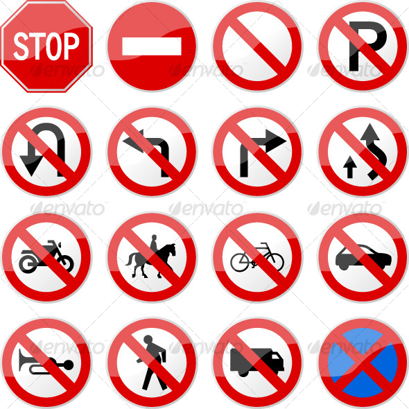 Road Sign Glossy Vector (Set 4 of 6) - Man-made Objects Objects