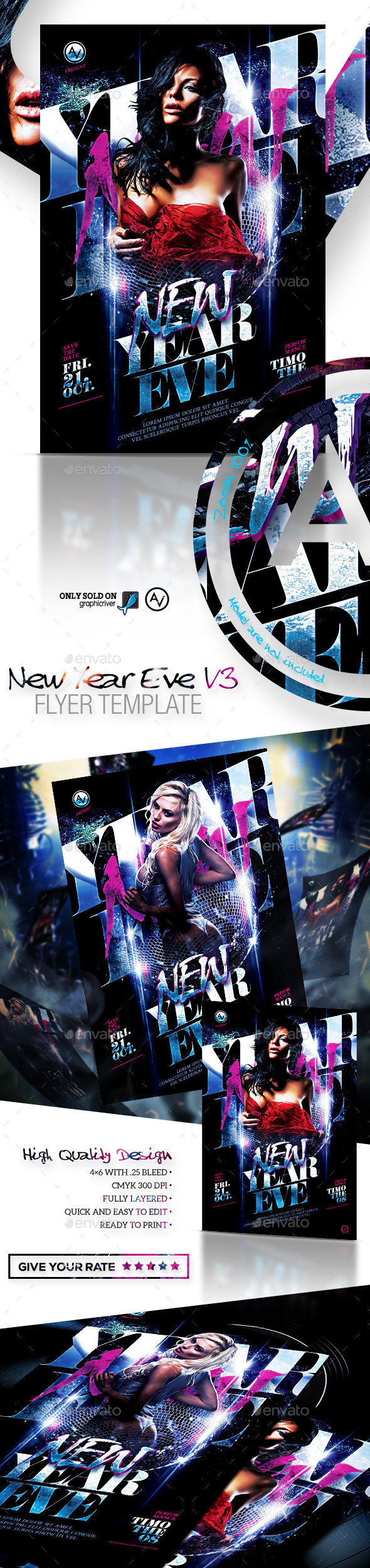 New Year Eve Flyer Template V3 - Clubs & Parties Events