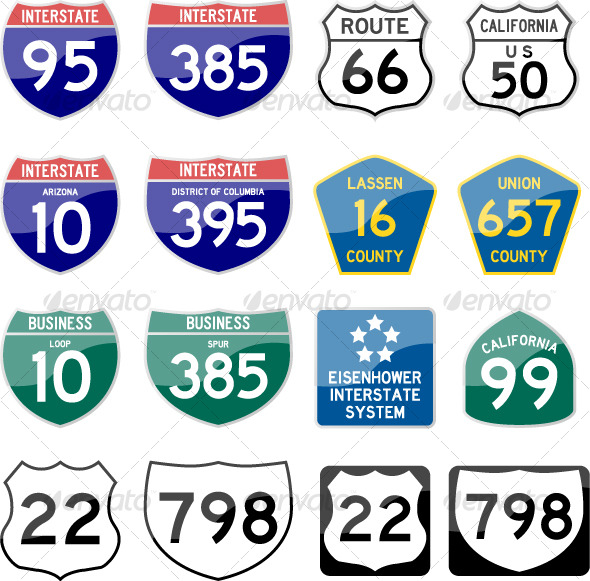 Road Sign Interstate Glossy Vector (Set 6 of 6) - Man-made Objects Objects