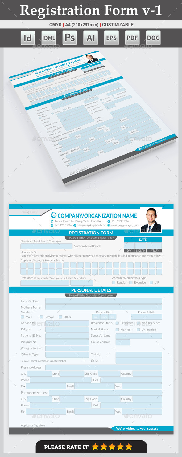 Registration Form v-1 - Miscellaneous Print Templates