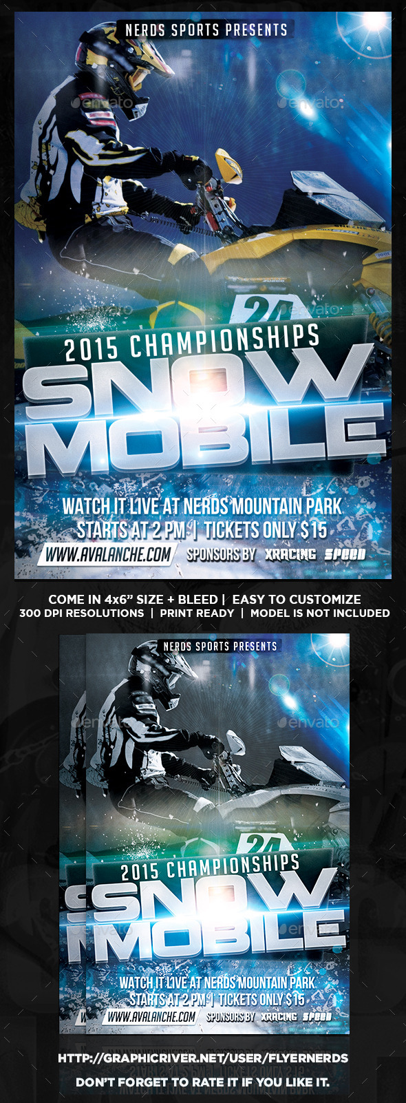 Snow Mobile Competition Sports Flyer - Sports Events