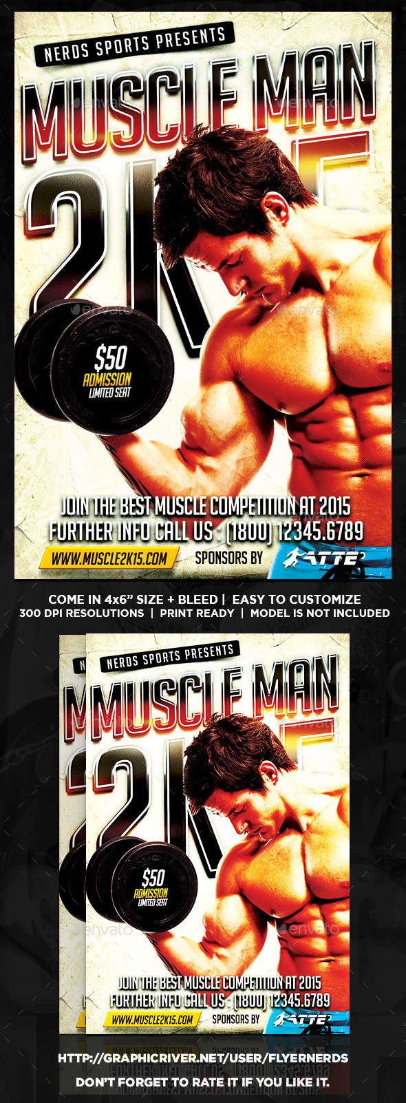 Muscle Man 2K15 Sports Flyer - Sports Events
