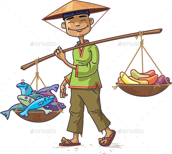 Asian Merchant with Fresh Fish and Fruits - People Characters