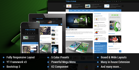 Tekmag –  Technology News/Magazine Joomla Template