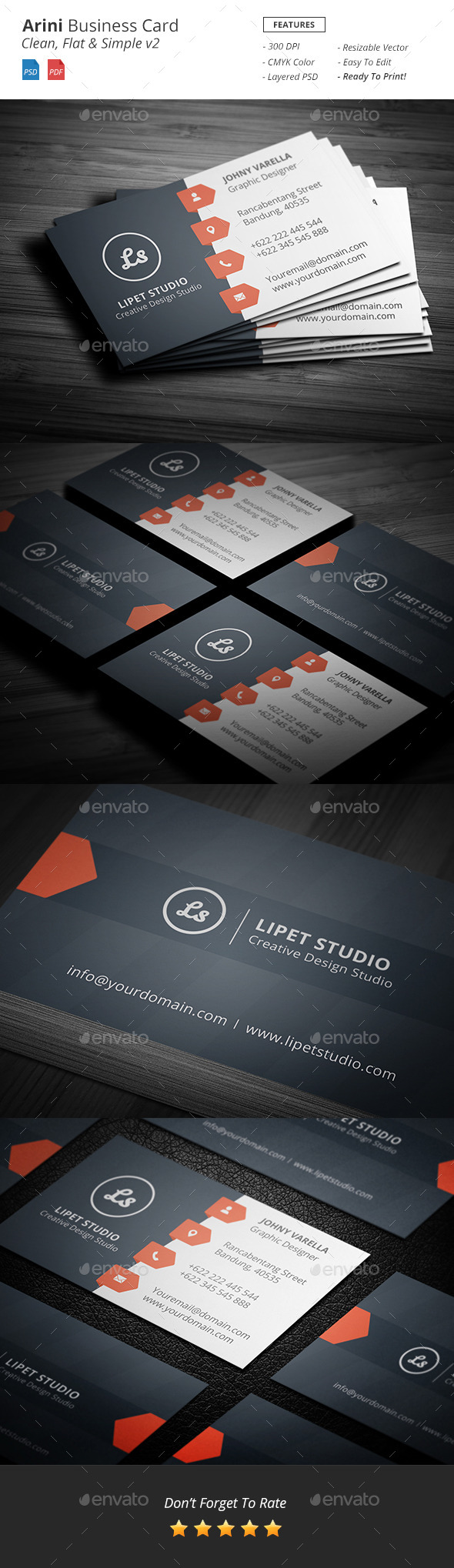 Arini - Clean Business Card Template v2 - Corporate Business Cards