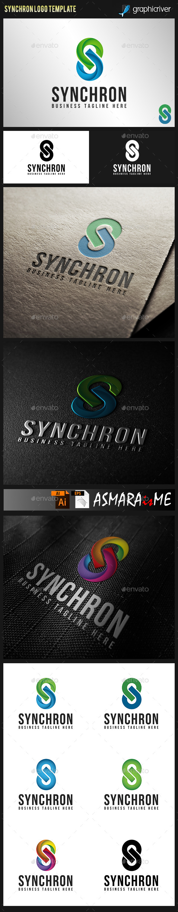 Synchron - Stylish Letter S Logo - Letters Logo Templates