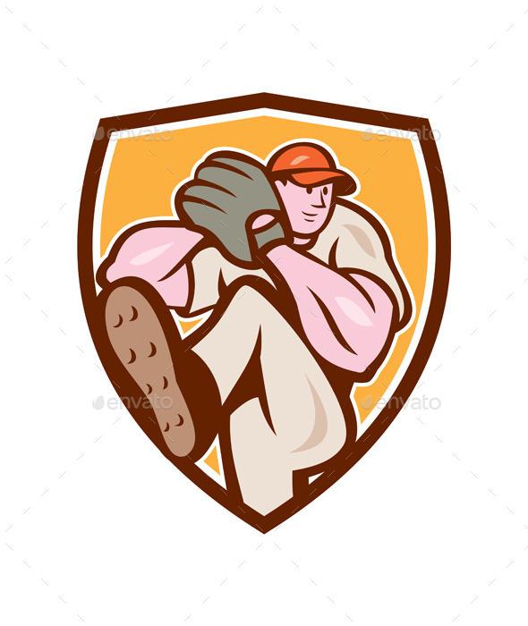 Baseball Pitcher Shield Cartoon - Sports/Activity Conceptual