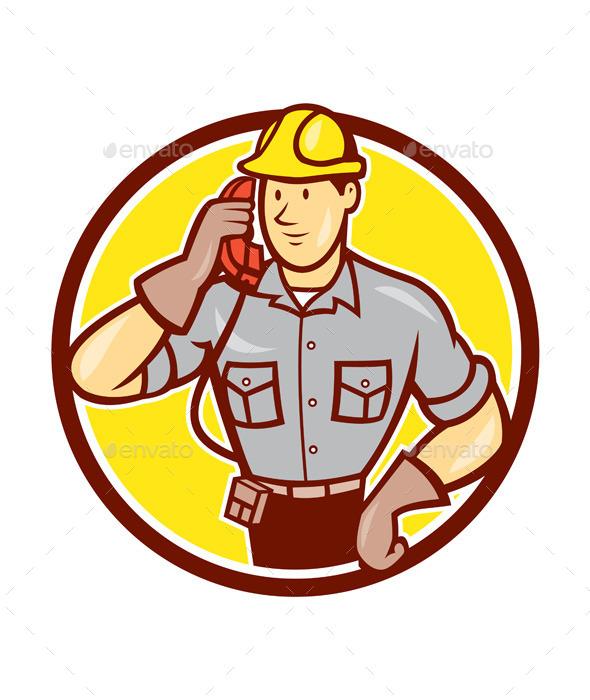 Telephone Repairman Phone Circle Cartoon  - People Characters