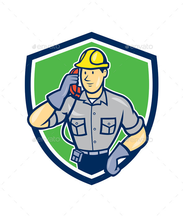 Telephone Repairman Phone Shield Cartoon  - People Characters