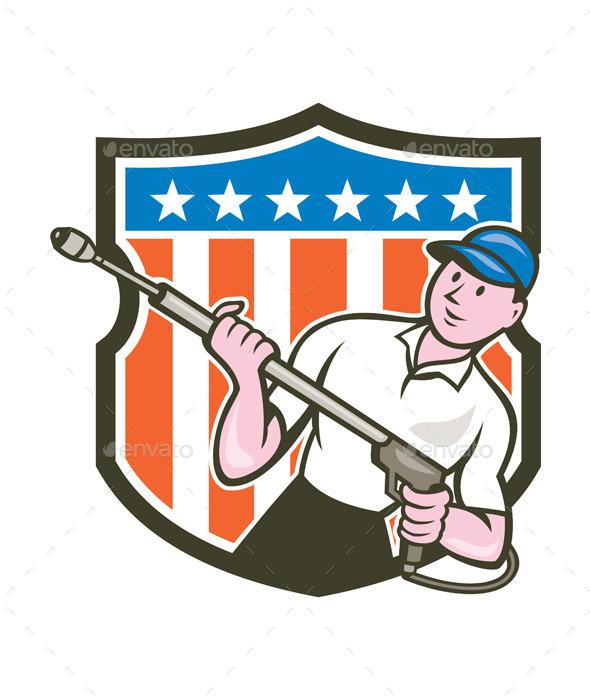 Pressure Washer Water Blaster USA Flag Cartoon - People Characters