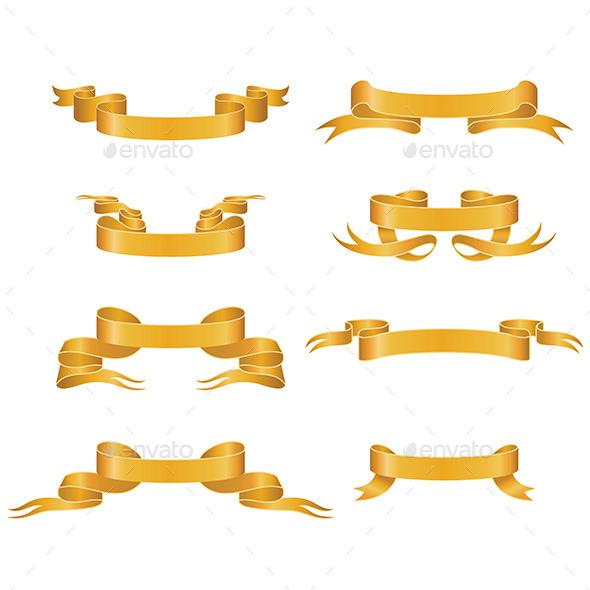Gold Ribbons - Decorative Vectors