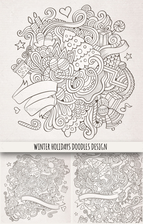 3 Winter Holidays Hand Drawn Backgrounds - Seasons/Holidays Conceptual
