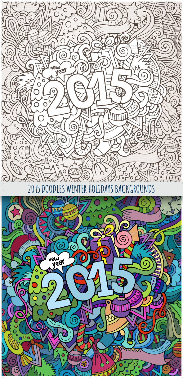 2015 Year Doodles Backgrounds - New Year Seasons/Holidays