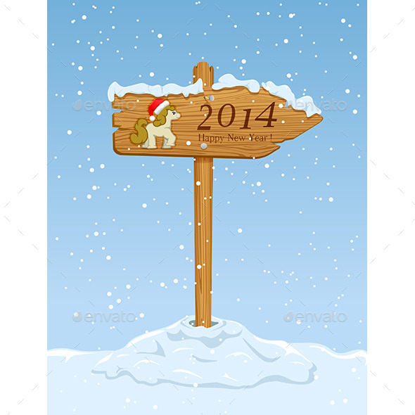 Wooden Sign with Horse - New Year Seasons/Holidays