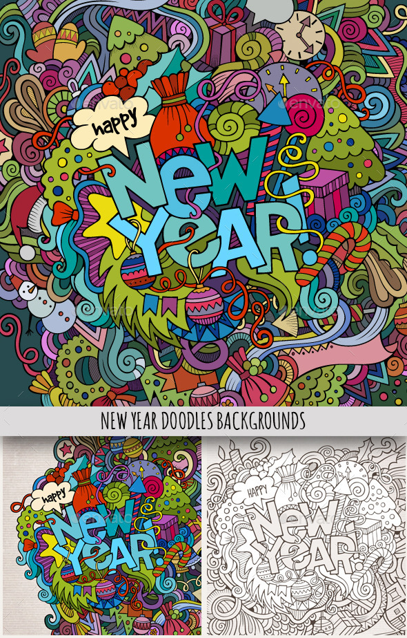 3 New Year Doodles Design - New Year Seasons/Holidays