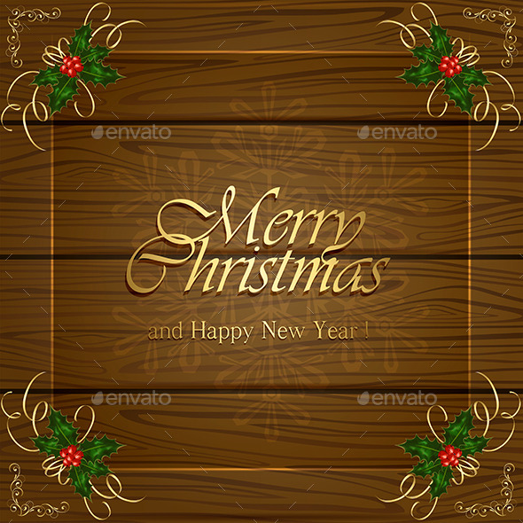 Wooden Christmas Background - Christmas Seasons/Holidays