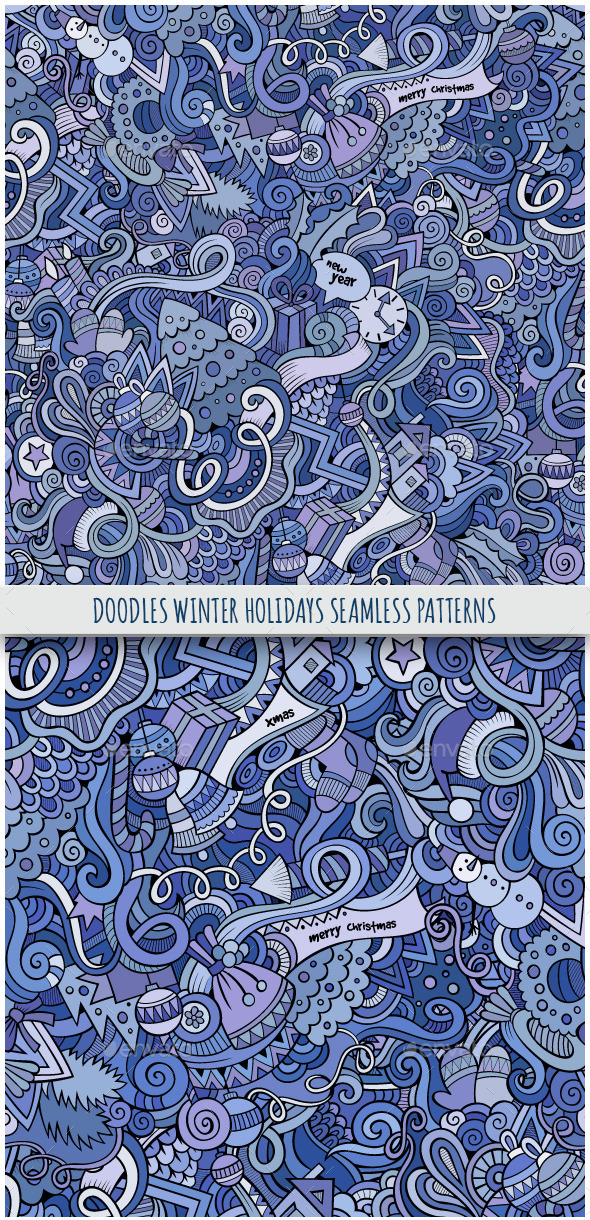 2 Doodles Winter Holidays Seamless Patterns - Seasons/Holidays Conceptual