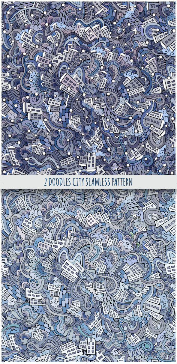 2 City Doodles Seamless Pattern - Buildings Objects